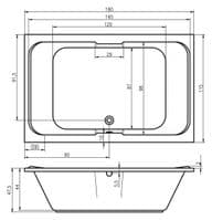 Arianna 1800mm x 1150mm Large Double Ended Whirlpool Bath 18 Jets Encore System